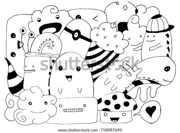 Simple Doodle Art Stock Vector (Royalty Free) 718087690