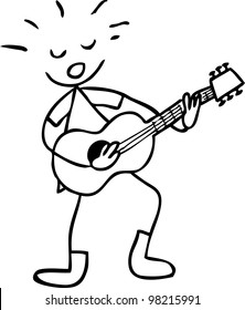 simple doodle of a boy playing guitar
