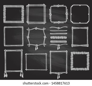 Simple doodle frames and dividers set on a chalkboard, marine style with ropes and knots