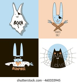 simple doodle halloween characters posters set