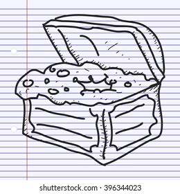 Simple doodle of a hand drawn treasure chest