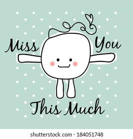 simple doodle with miss you text