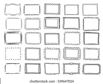 Simple doodle, sketch square vector frames.