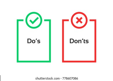 simple dos and donts like checklist. flat trend logotype graphic outline design illustration isolated on white background. concept of checklist symbol for recommendations and review result or evaluate