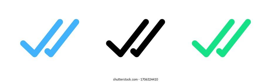 simple double tick, checklist icon vector