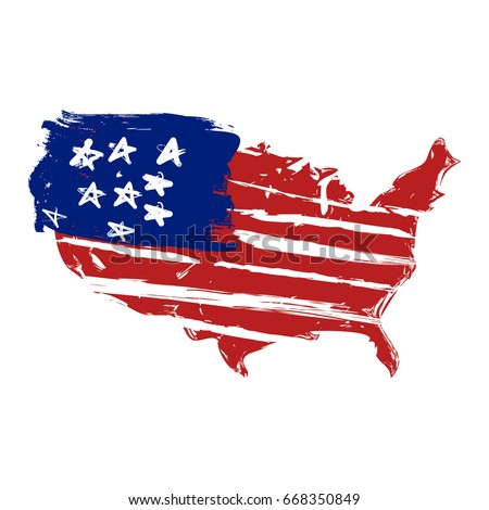 Simple Drawing American Flag Map America Stock Vector (Royalty
