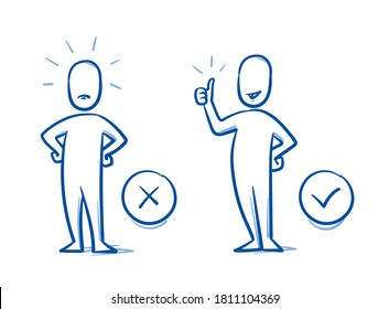 Simple drawn neutral person in 2 poses: angry and happy. Concept for pro & contra, do & don't, line & dislike. Hand drawn blue line art cartoon vector illustration.