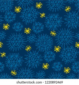 Simple drawn star and blue snowflakes seamless pattern. Xmas holiday naive motif. Christmas wrapping paper design.