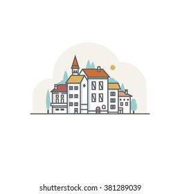 Simple drawn white city
