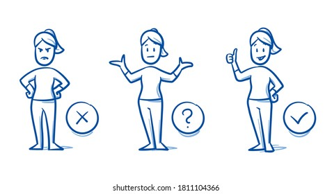 Simple drawn woman in 3 states: angry, undecided, happy. Concept for pro & contra, do & don't, line & dislike, or choosing something. Hand drawn blue line art cartoon vector illustration.