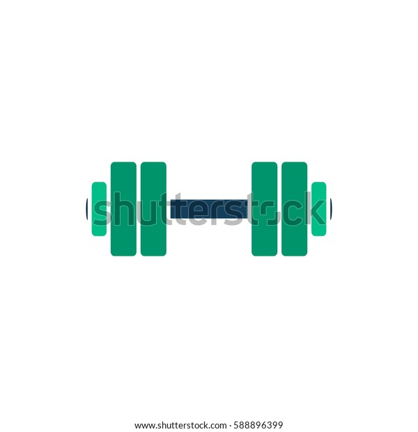 Simple Dumbbell. Color symbol icon on white background. Vector illustration
