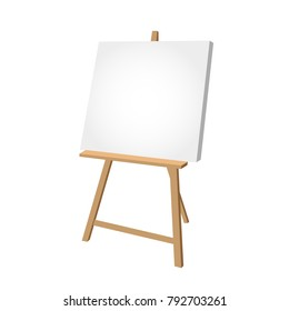 Simple easel on white background - artist workplace