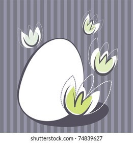 simple Easter design with egg and flower elements