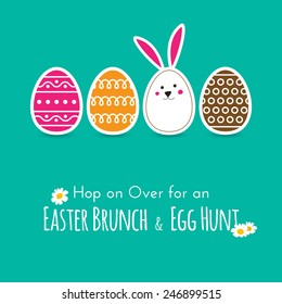 Simple Easter wishing card with eggs and bunny in flat design in vector