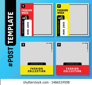 Simple Editable Post Template Social Media Banners for Digital Marketing. Promo Brand Fashion. Facebook, Instagram, Twitter Banner Ads. Vector Illustration
