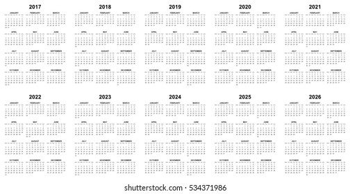 Simple editable vector calendars for year 2017 2018 2019 2020 2021 2022 2023 2024 2025 2026 mondays first
