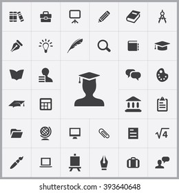 Simple education icons set. Universal education icons to use for web and mobile UI, set of basic UI education elements
