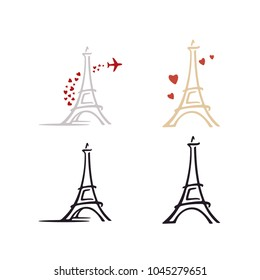 Royalty Free Stock Illustration Of Eiffel Tower Outline Among Pink