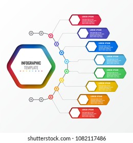 simple eight options design layout infographic template with hexagonal elements. business process diagram for brochure, banner, annual report and presentation