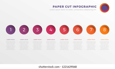 simple eight steps infographic timeline template with round paper cut elements. business process diagram for brochure, banner, annual report and presentation. easy for edit and customize. eps10