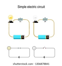 Simple Electric Circuit. Electrical network and lighting lamp. switch, light bulb, wire and battery. vector illustration for physical, educational, and science use