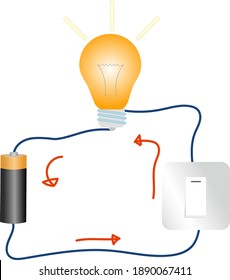 Simple Electricity Circuit Vector Illustration