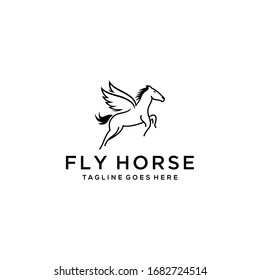 Simple Elegance flying horse with her wings Vector linear icons and logo design