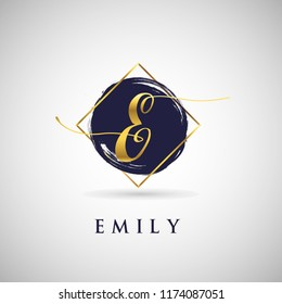 Simple Elegance Initial Letter E Gold Logo Type Sign Symbol Icon