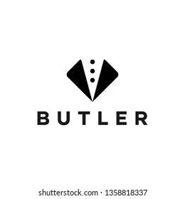 Simple Elegant Black Butler Gentleman Logo Design Waiter Idea