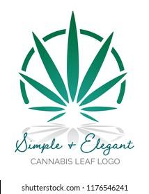 Simple and elegant cannabis leaf medical marijuana logo design template