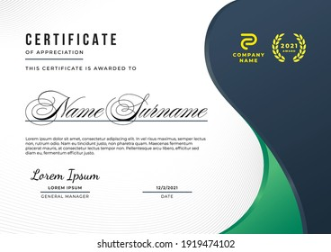 Simple and elegant certificate of appreciation template with deep blue and deep green gradient color, multipurpose design.