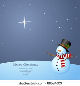 Simple, Elegant Christmas Background. Snowman at night staring at the North Star. Vector