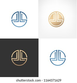 Simple elegant circle LL letters logo for branding identity. Vector image.