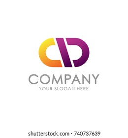Simple And Elegant Company Initial Letter CD Monogram Logo Type