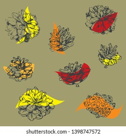 Simple and elegant floral autumn design. Decorative elements made of graphical sketch of grapical pine cones. Botanical design for wedding cards and decorations. Color spots with grapical pine cones.