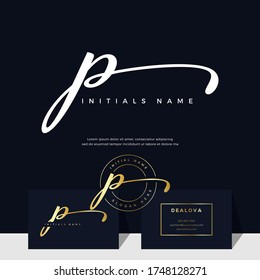 simple elegant initial handwriting letter P on gold color. Luxury vector logotype with business card template