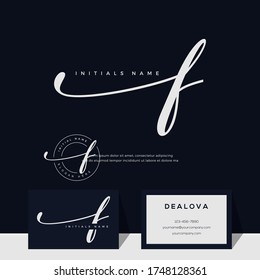 simple elegant initial handwriting letter F. Luxury vector logotype with business card template