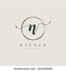 Simple Elegant Initial Letter Type N Logo Sign Symbol Icon