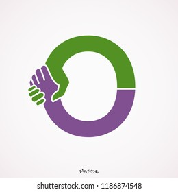 Simple Elegant Initial Letter Type O Logo handshake Sign Symbol Icon