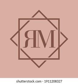 Simple Elegant Initial Letter Type RM Logo Sign Symbol Icon, Logo Design Template
