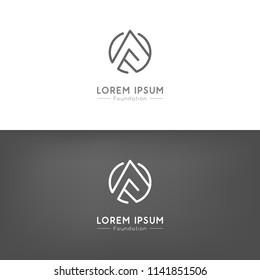Simple elegant landscape icon. Logo for branding identity. Vector image.