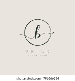 Simple Elegant Letter B With Circle Brush Logo Sign Symbol Icon