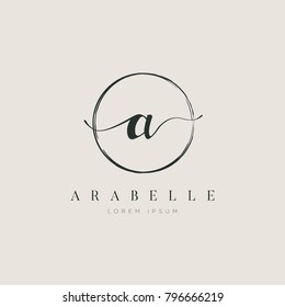 Simple Elegant Letter a With Circle Brush Logo Sign Symbol Icon
