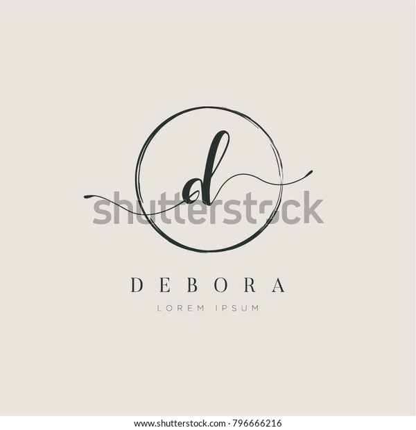 Simple Elegant Letter D With Circle Brush Logo Sign Symbol Icon