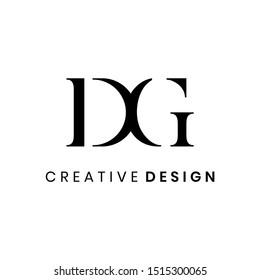 Simple elegant letter DG logo design vector template