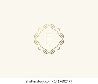 Simple elegant letter F icon logo. Lineart monogram vector logotype