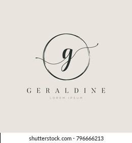 Simple Elegant Letter G With Circle Brush Logo Sign Symbol Icon