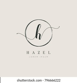 Simple Elegant Letter H With Circle Brush Logo Sign Symbol Icon