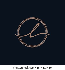 Simple Elegant Letter L With Circle handwriting Logo Sign Symbol Icon - Shutterstock ID 1544819459