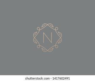 Simple elegant letter N icon logo. Lineart monogram vector logotype